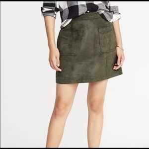 Old Navy Olive Faux Suede A-Line Skirt